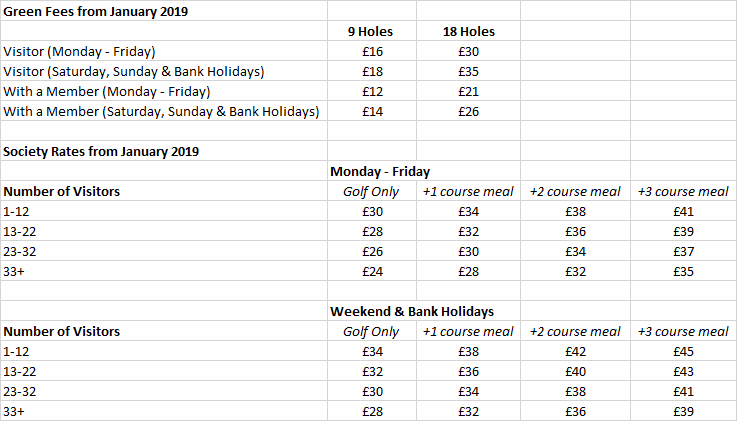 2019 Green Fee Rates